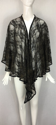 Janet Deleuse Couture Silk Mini-Cape with Silk Sheer Scarf