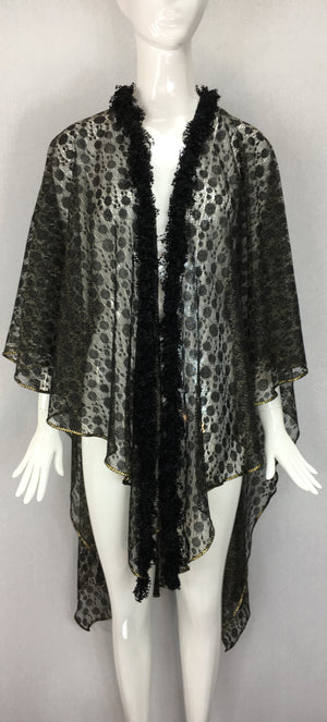 Janet Deleuse Gold and Black Lace Wrap, SALE, SOLD