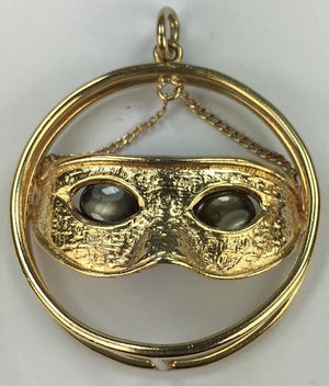 Vintage 14K Gold Tiger Eye Mask Charm