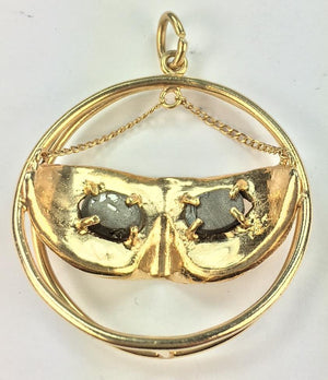 Vintage 14K Gold Tiger Eye Mask Charm, SALE, SOLD