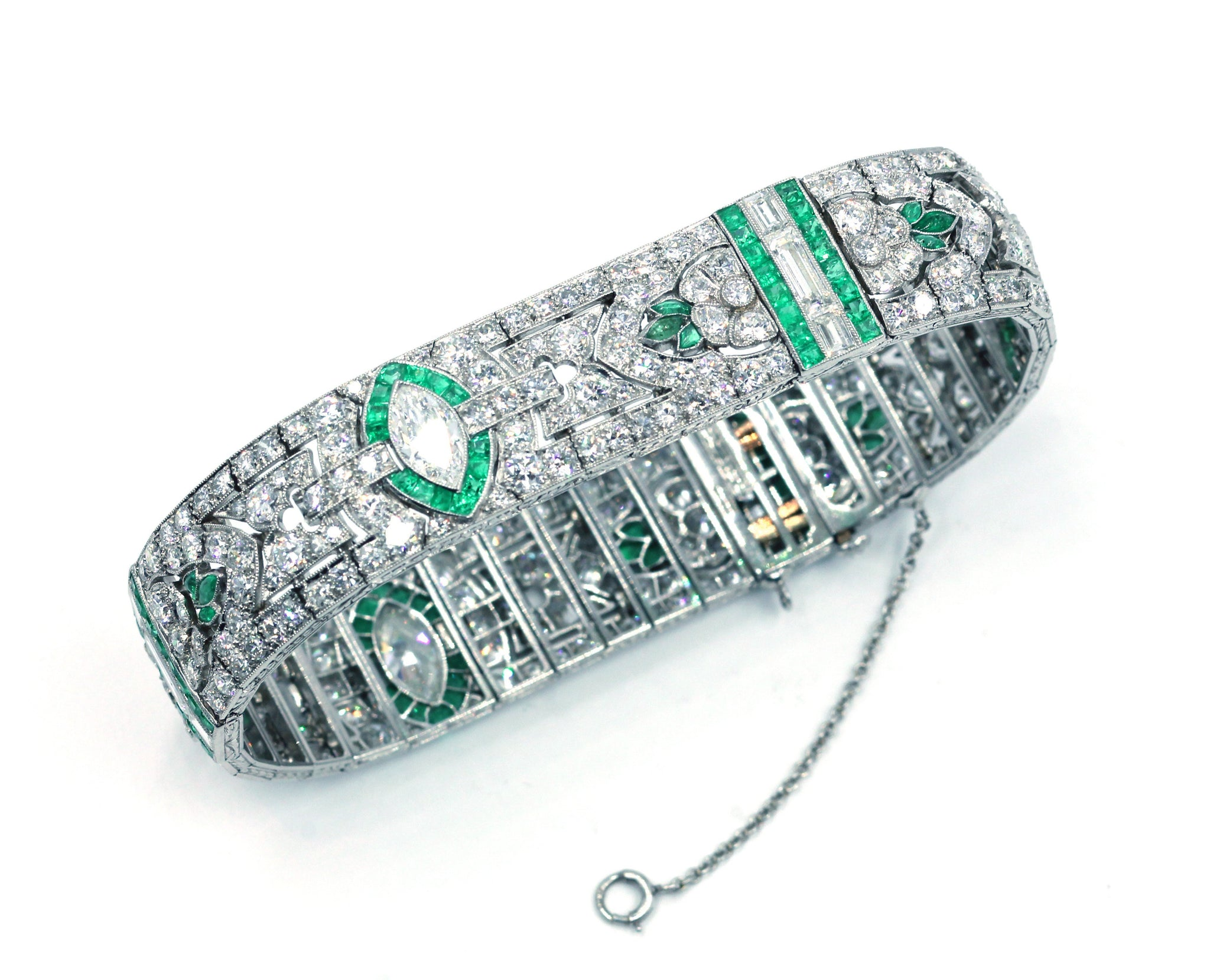 Vintage Deco Diamond and Emerald Bracelet, SOLD