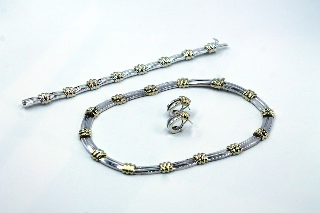 Vintage Tiffany Paloma Sterling and Gold Necklace, Bracelet and Earrings