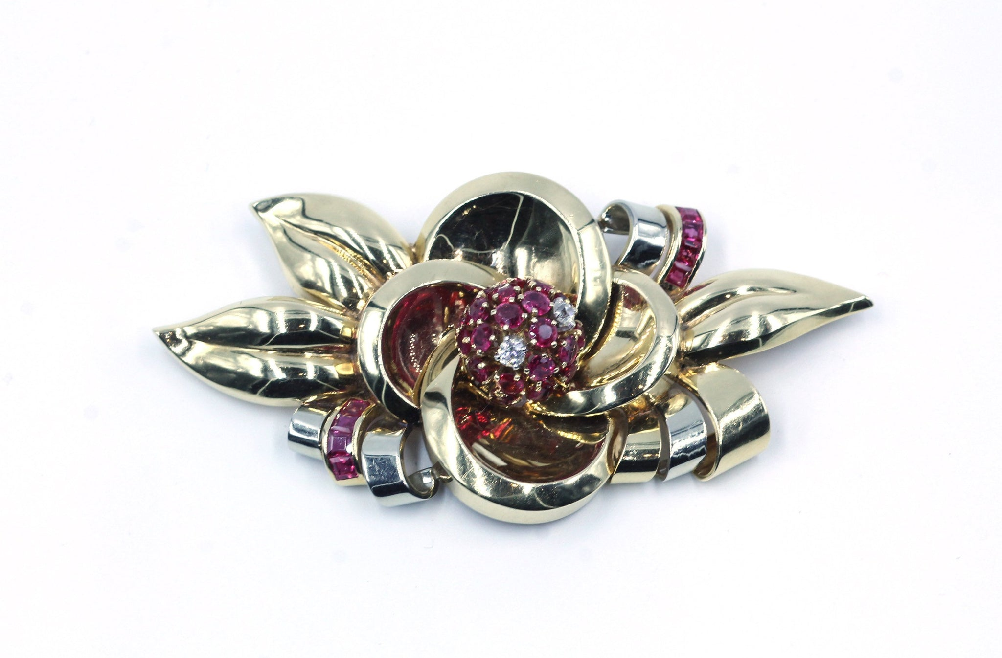 Vintage 1940's Ruby and Diamond Brooch, SOLD