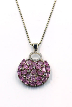 Vintage Pink Sapphire and Diamond Pendant Necklace, SOLD