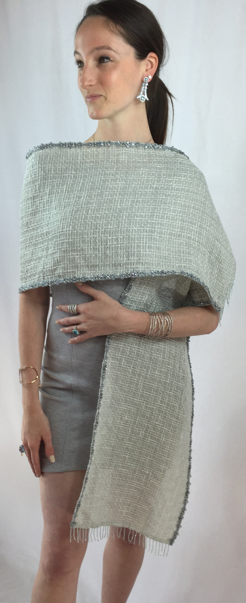 Janet Deleuse Couture Beaded Silk and Linen Wrap, SALE, SOLD