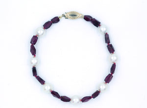 Garnet and Cultured Pearl Bracelet, SOLD