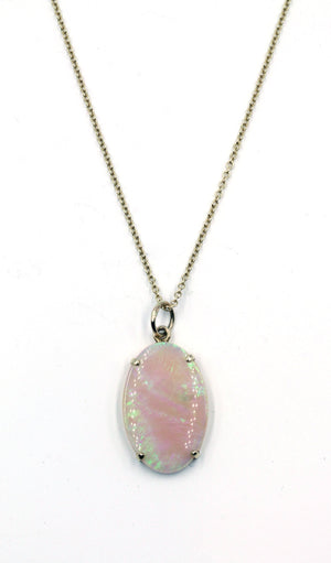 Vintage Opal Pendant on New Chain, SALE