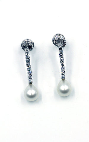 Vintage Pearl and Diamond Earrings, SOLD