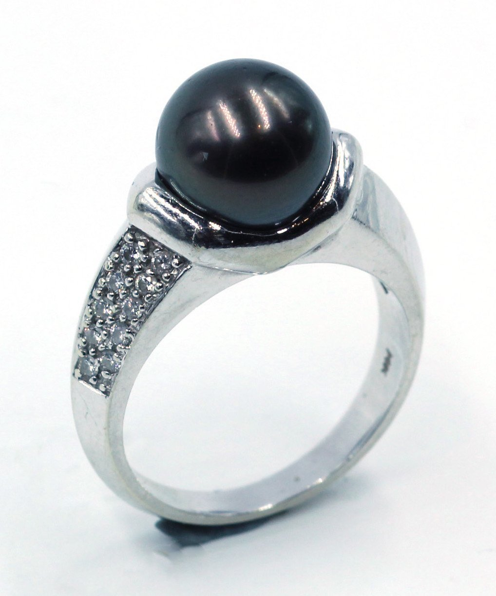 Vintage Tahitian Pearl and Diamond Ring, SOLD