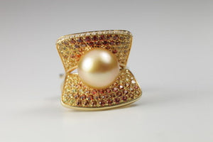 Multi Color Sapphires and Golden Pearl Ring, SALE