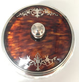 Vintage Glass Dish with Sterling Silver and Faux Tortoise Shell, SOLD