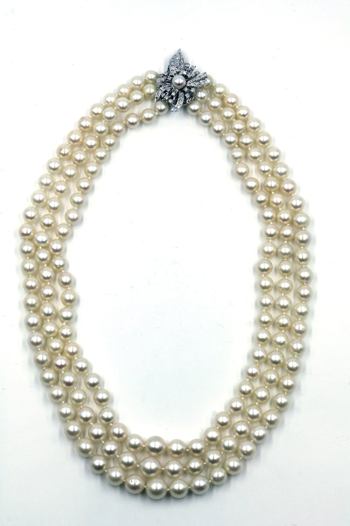 Vintage Akoya Necklace with Diamond Clasp, SOLD