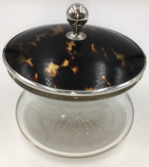 Vintage Glass Container with Sterling Silver and Faux Tortoise Shell, SALE, SOLD