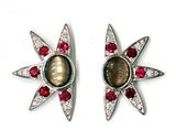 Janet Deleuse Platinum Comet Star Earrings, SOLD