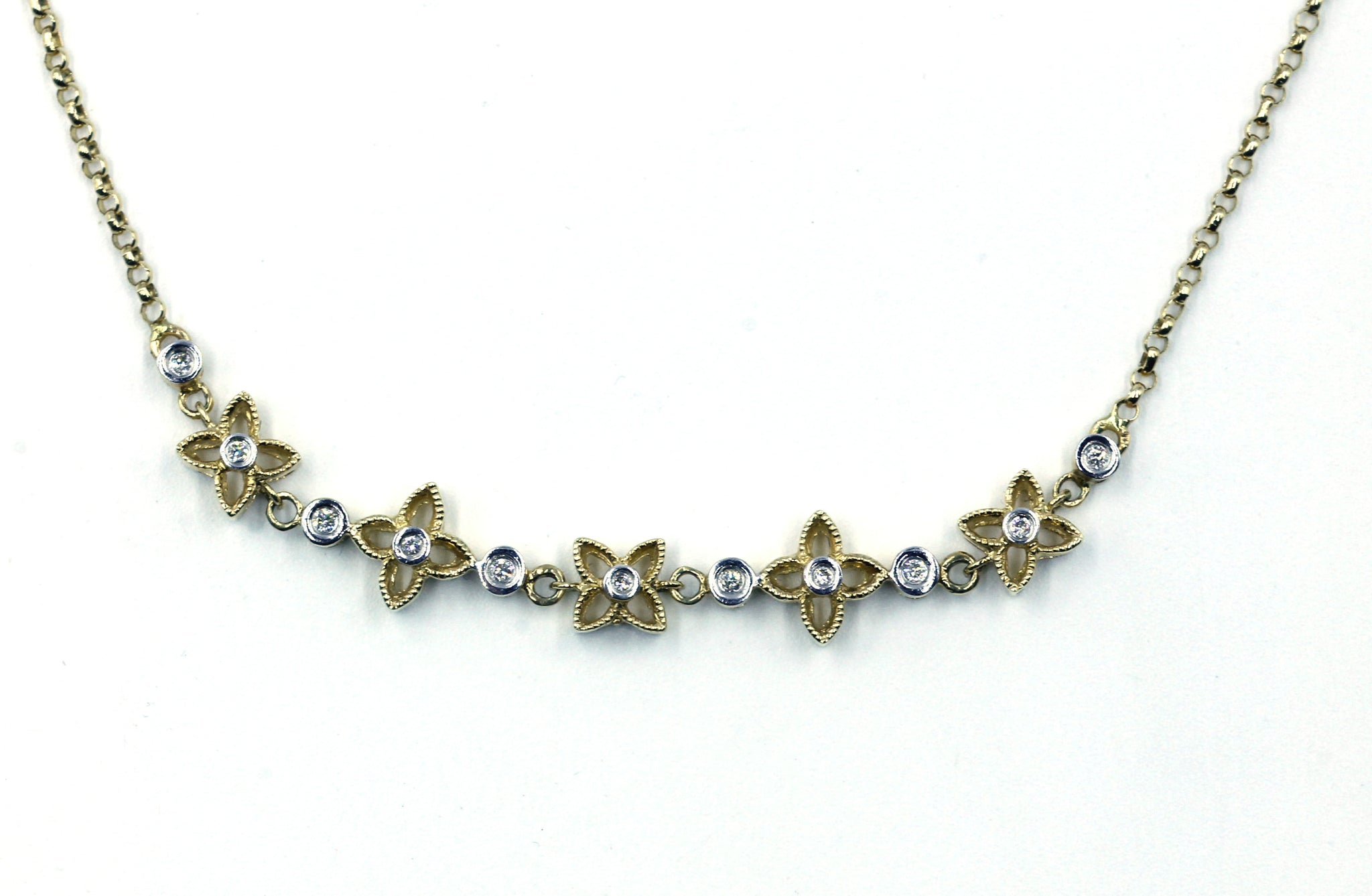 Flower Diamond Necklace, SOLD