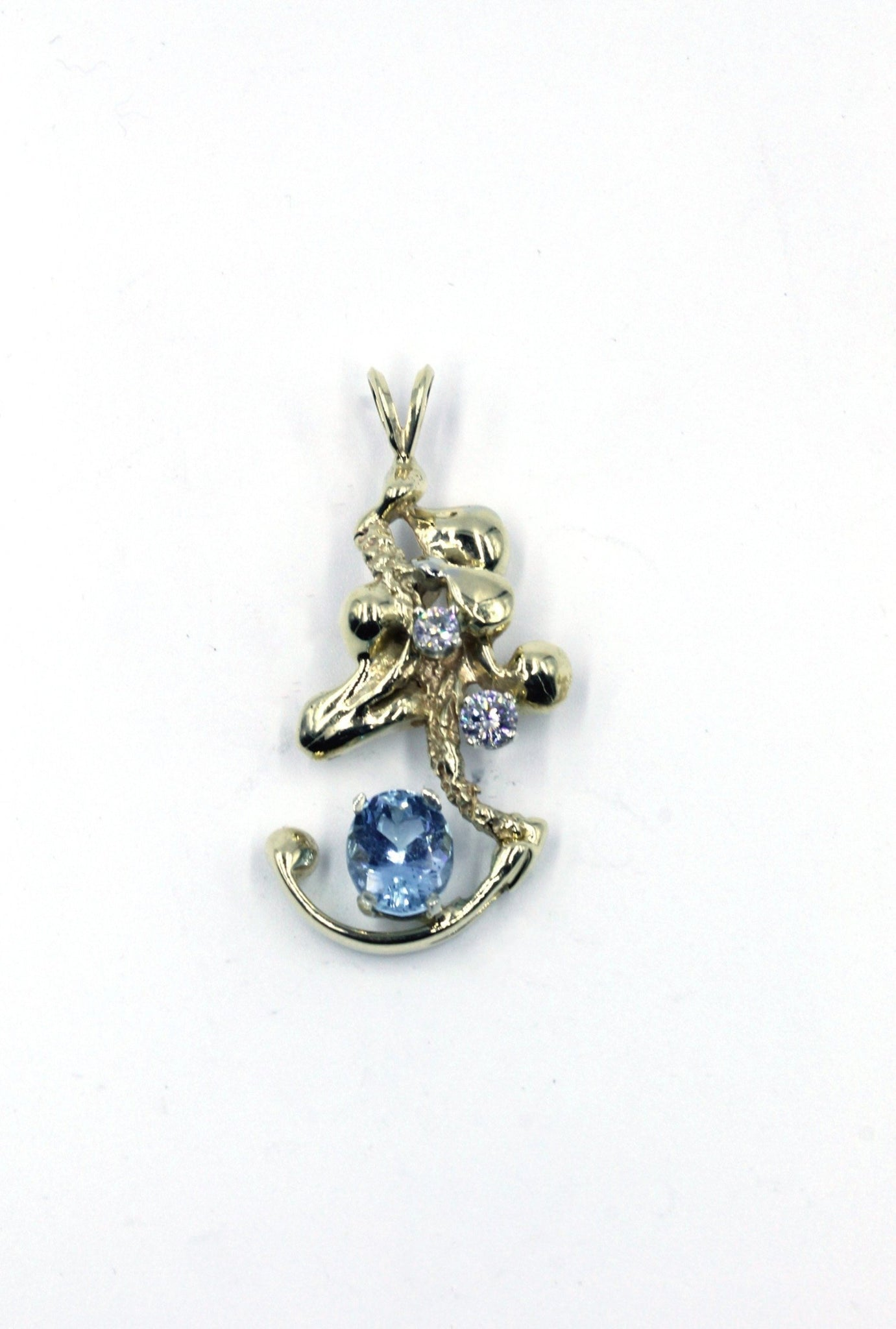 Vintage Diamond and Aqua Pendant