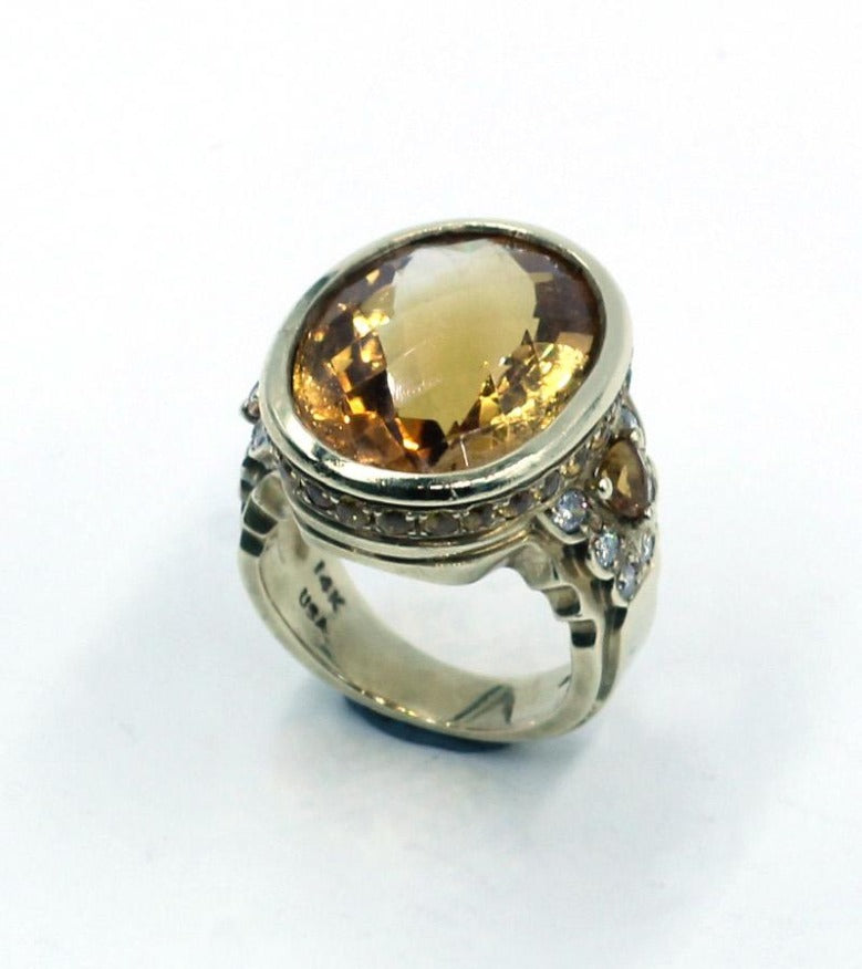 Vintage Citrine and Diamond Ring, SOLD