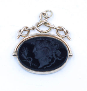 Vintage Carved Cameo Swivel Pendant