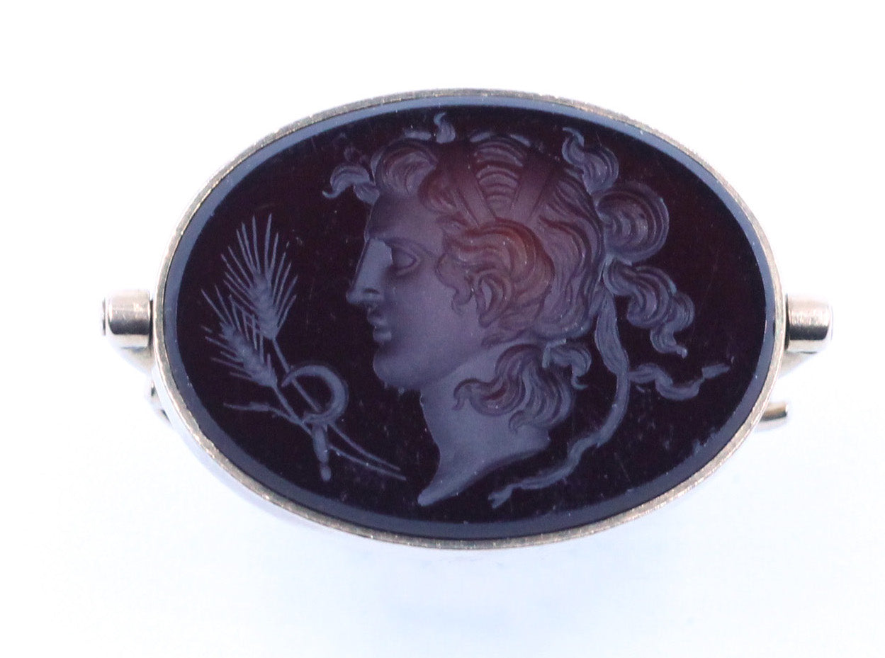 Vintage Carved Cameo Swivel Pendant, SOLD