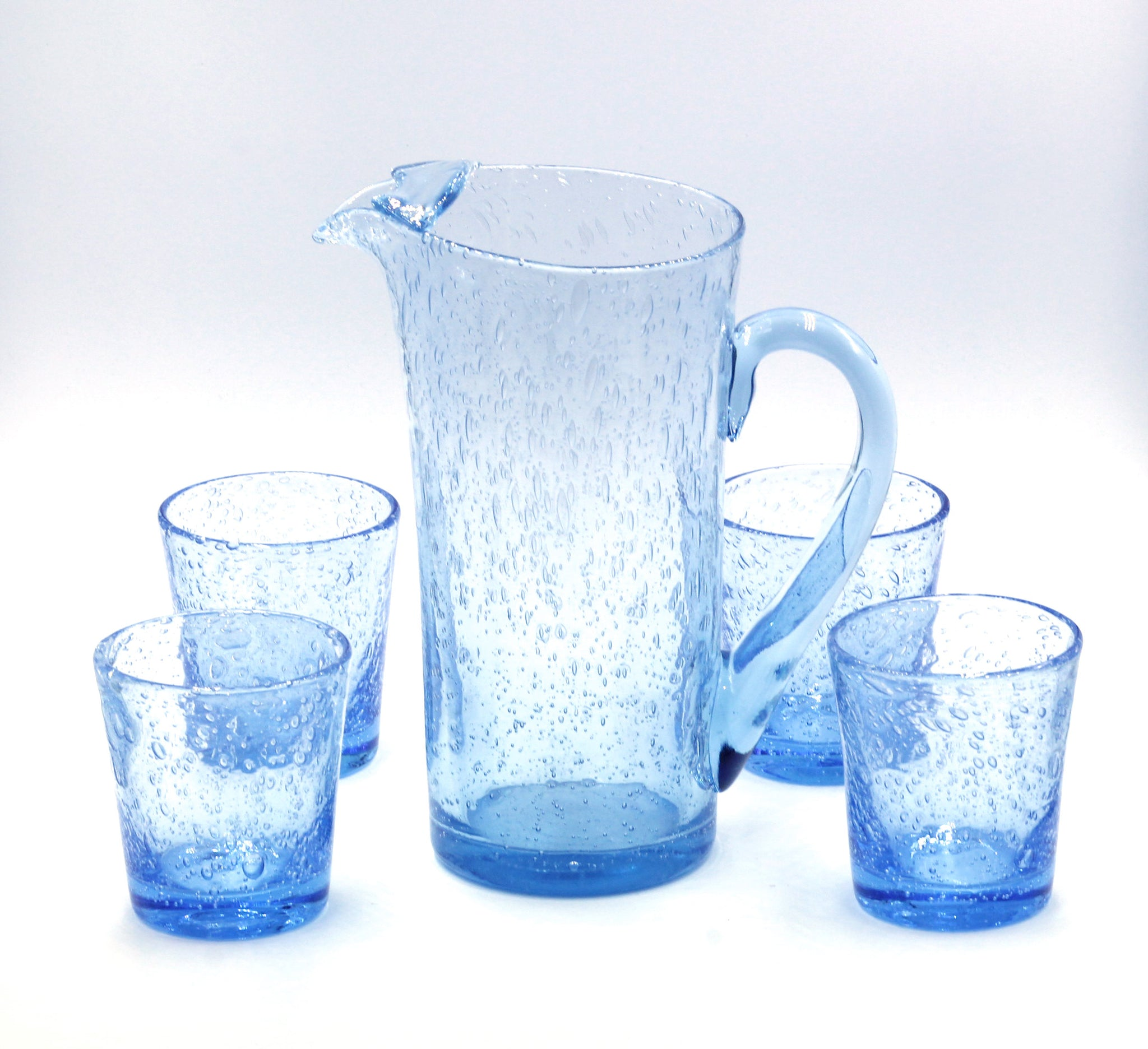 Biot Hand-Blown Glass Pitcher and Cups