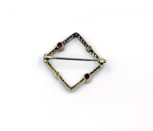 Vintage Diamond Pin with Pearls and Pink Sapphires, SOLD