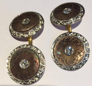 Vintage Mother-of-Pearl and Diamond Cufflinks, SUPER SALE,SOLD