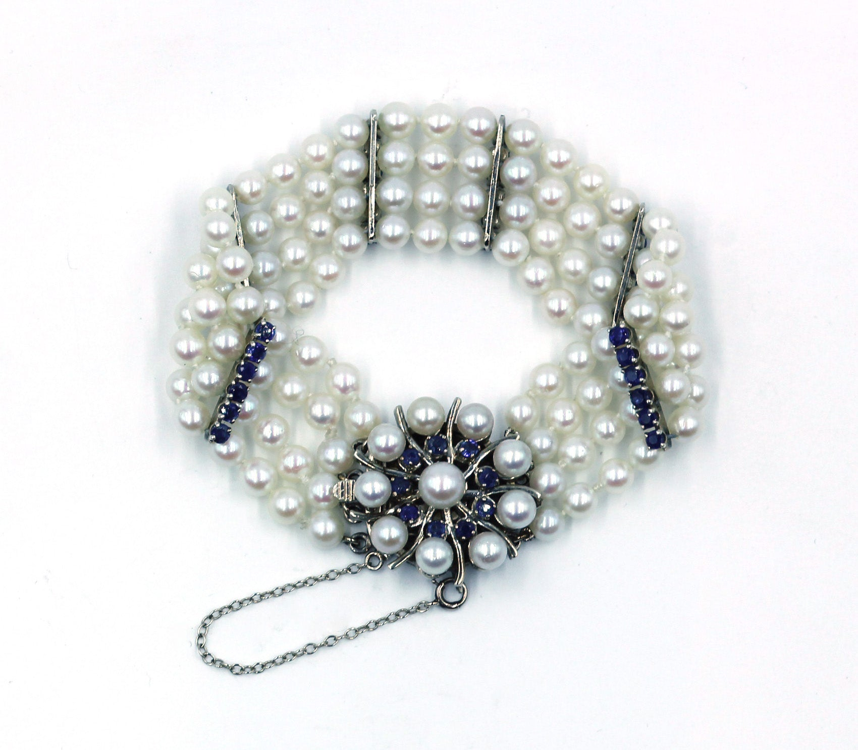 Vintage Pearl and Sapphire Bracelet