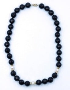 Vintage Onyx, Pearl and Gold  Bead Necklace