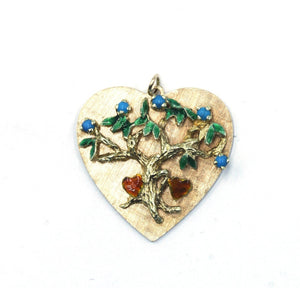 Vintage Turquoise and Enameled Heart Charm, SOLD