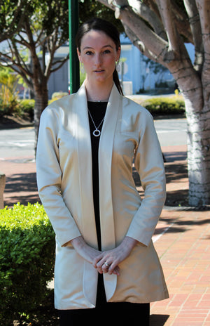 Janet Deleuse Designer Silk Satin Coat, SALE!