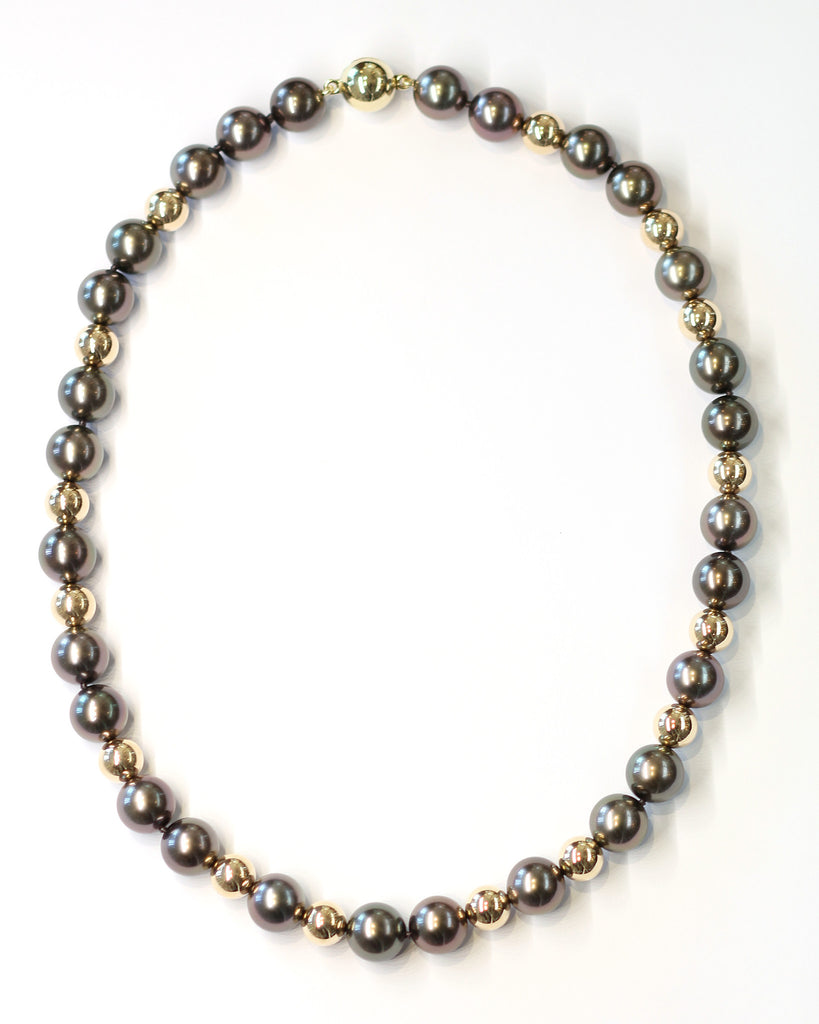 Janet Deleuse Designer Tahitian Pearl and Gold Bead Necklace