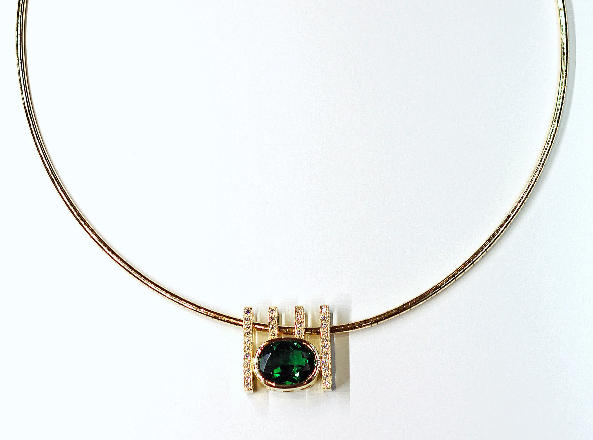 Janet Deleuse Designer Tourmaline and Diamond Necklace