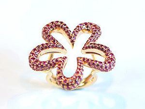 Pink Sapphire Flower Ring, SALE, SOLD