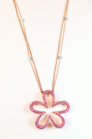 Rose Gold and Pink Sapphire Flower Pendant
