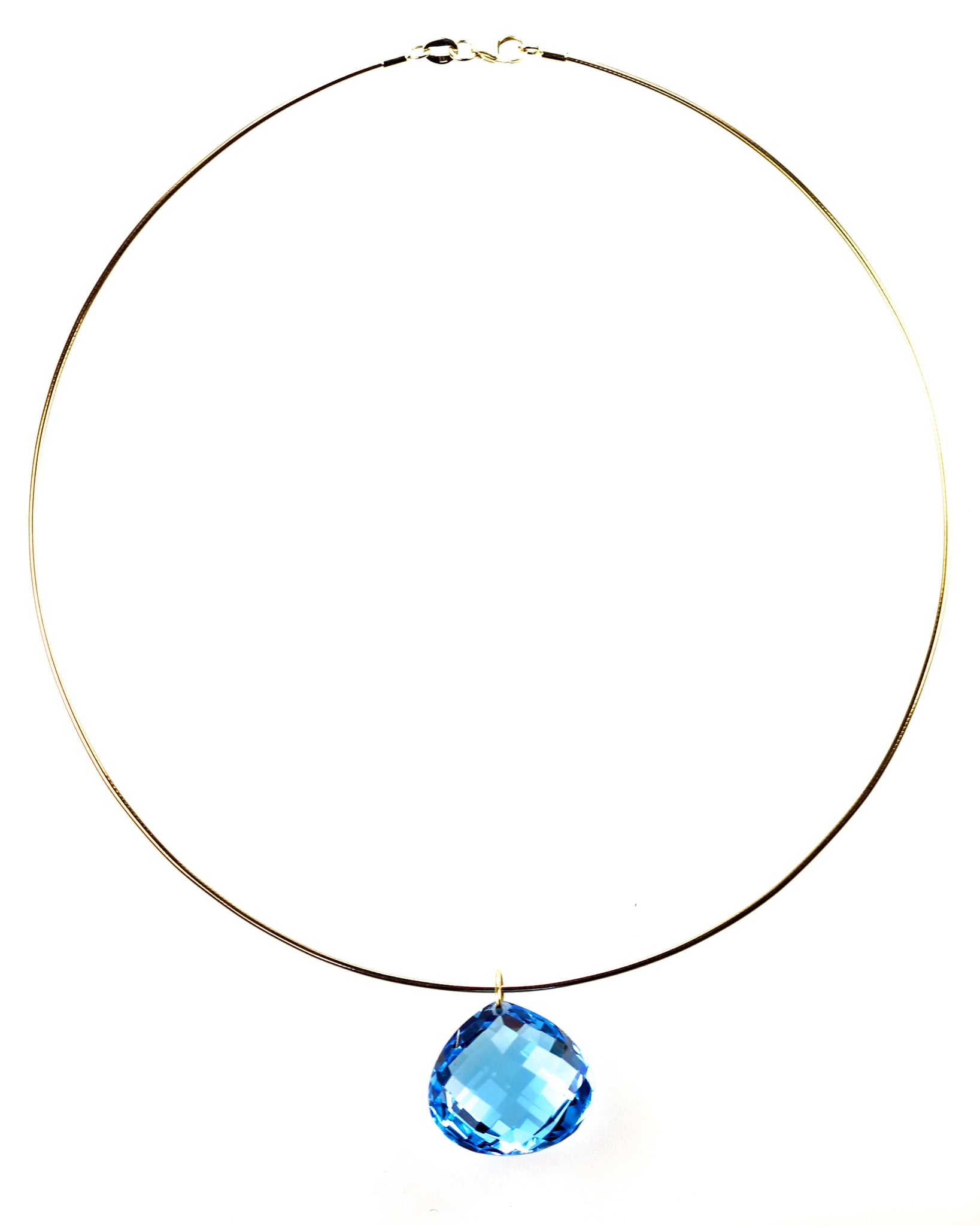 Faceted Blue Topaz Pendant on Wire Necklace, SOLD