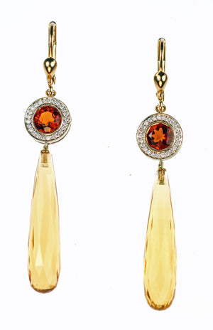 Designer Citrine  Briolette and Diamond Earrings
