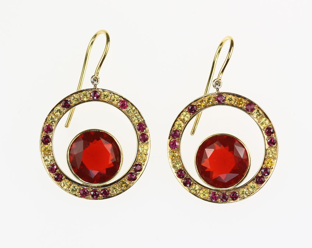 Janet Deleuse Designer Opal, Sapphire and Ruby Earrings