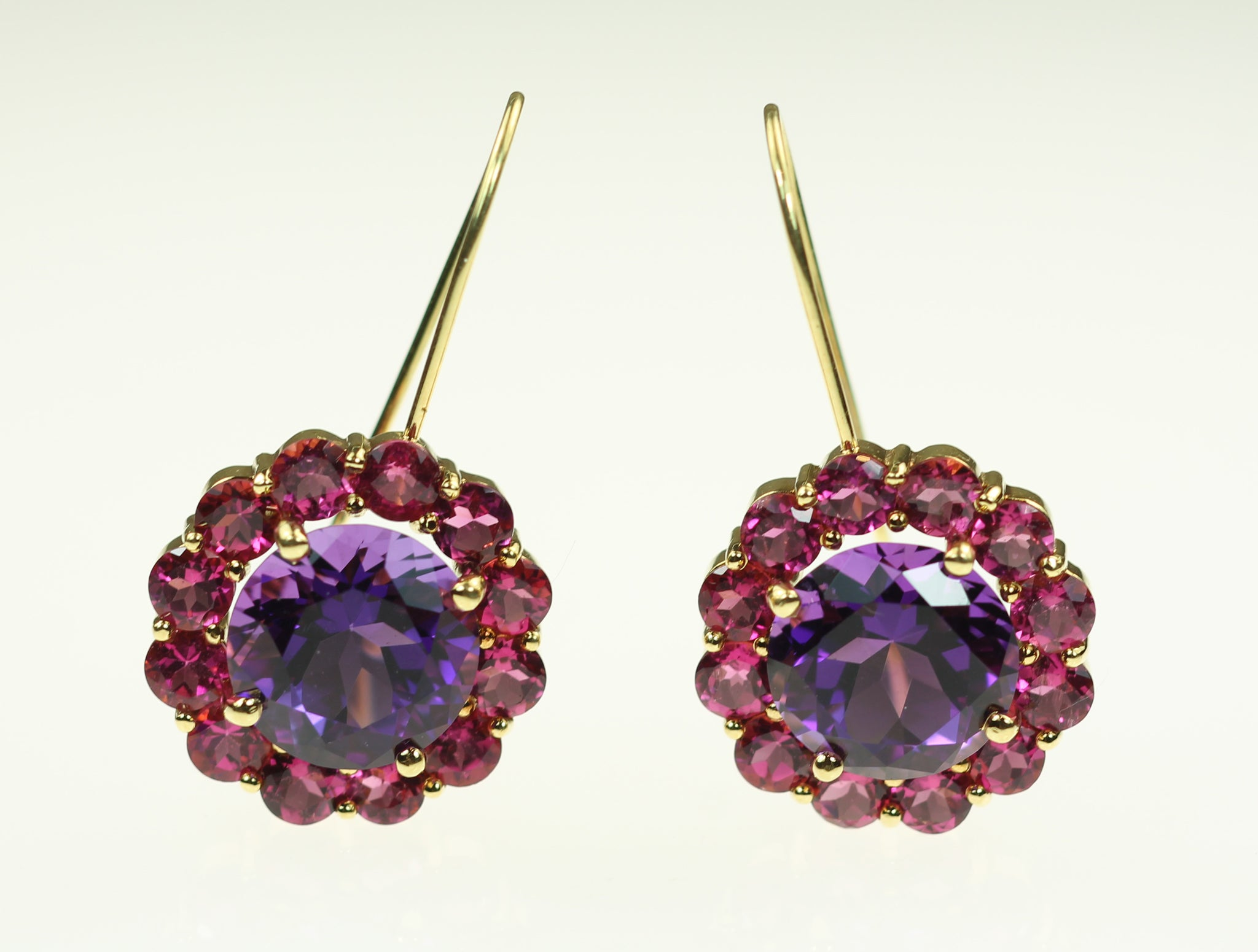 Janet Deleuse Designer Amethyst and Pink Tourmaline Earrings, SALE, SOLD