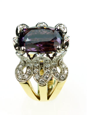 Janet Deleuse Designer Amethyst and Diamond Ring, SALE, SOLD