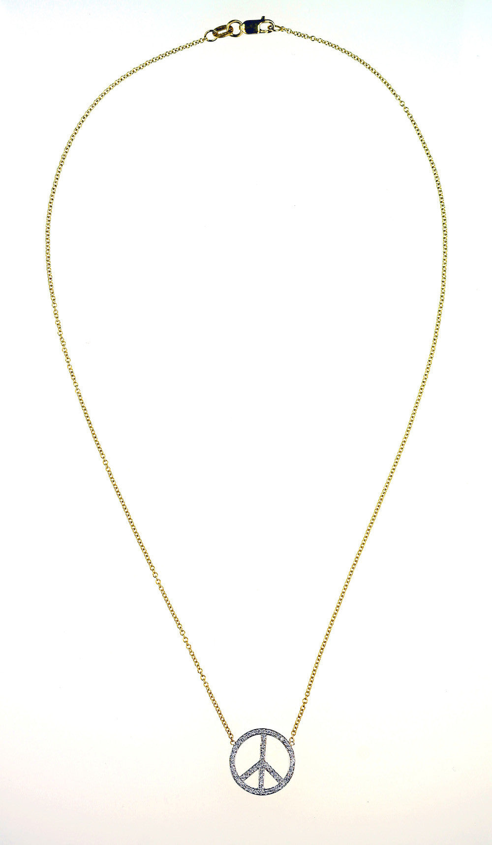 Janet Deleuse Designer Peace Sign Diamond Necklace, SOLD