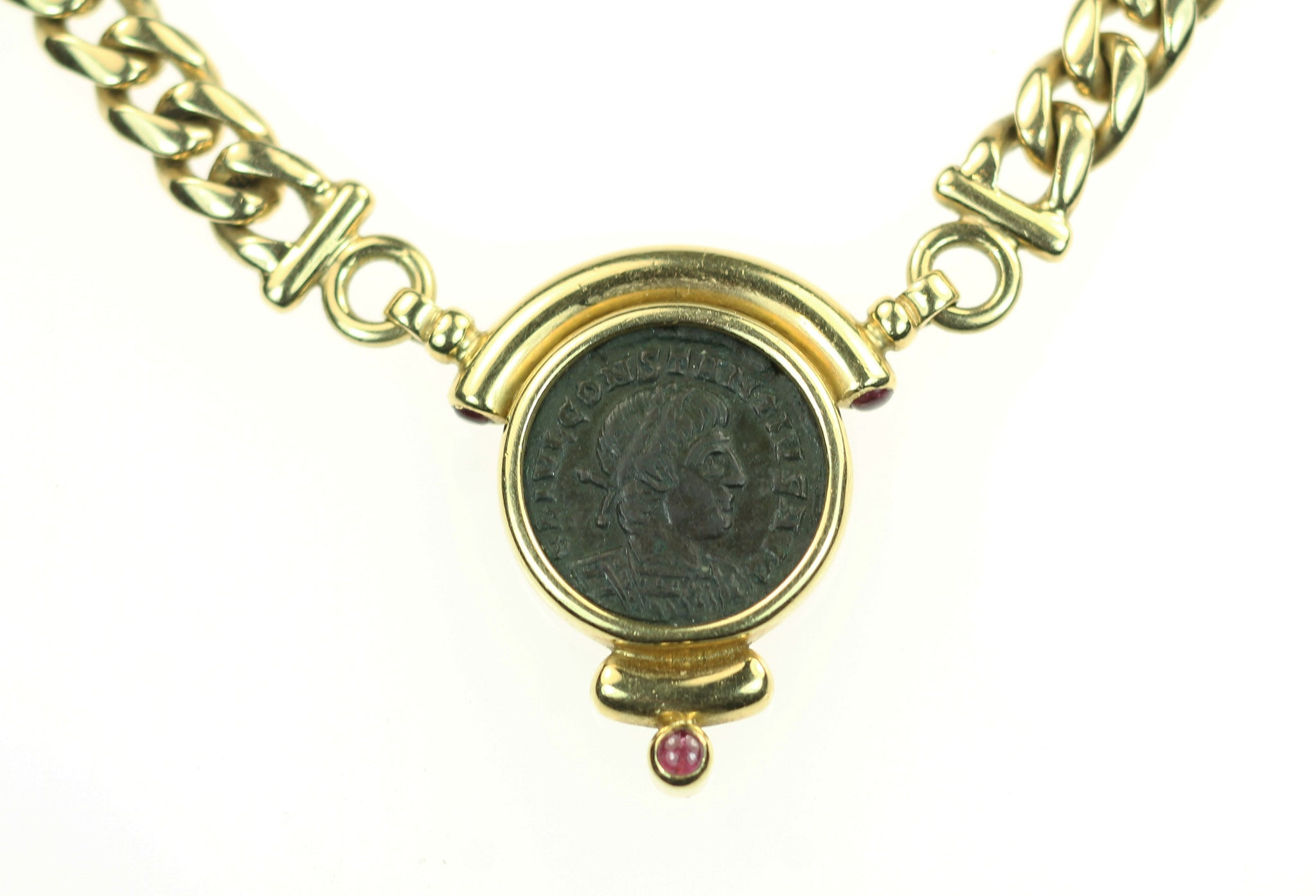 Vintage 18k Gold Chain Roman Coin and Ruby Necklace, SOLD