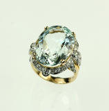 Vintage Aqua and Diamond Ring, SOLD