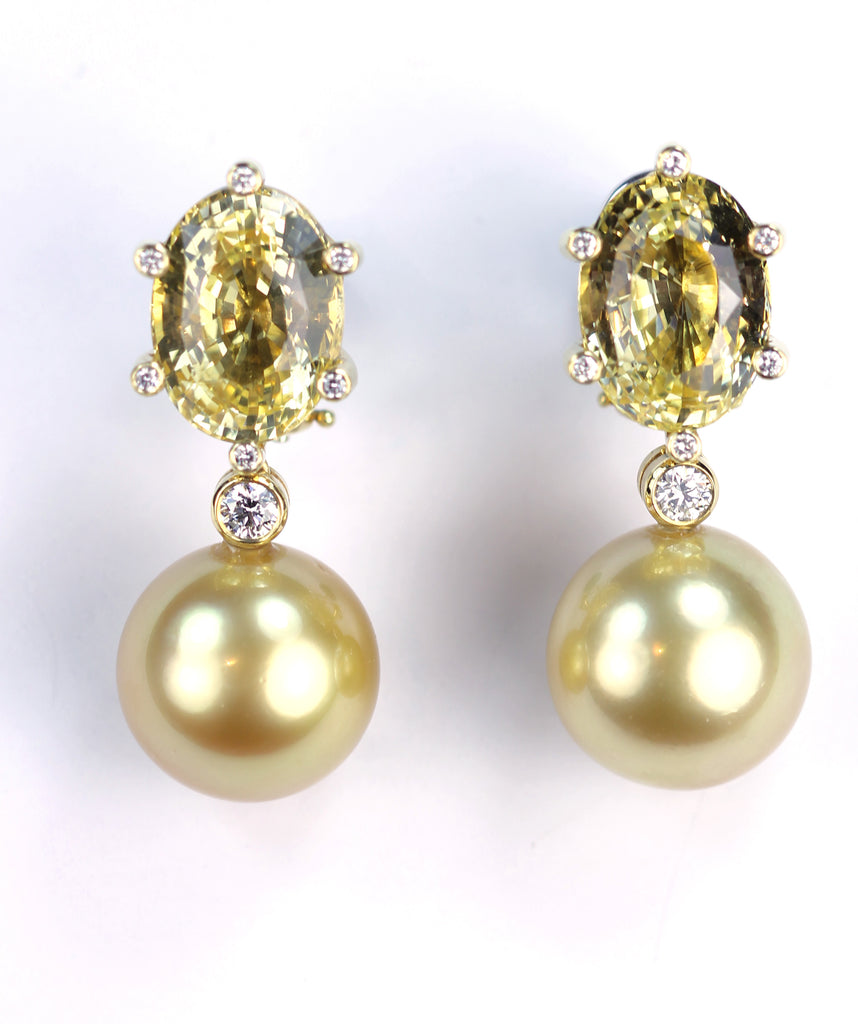 Sapphire, Pearl and Diamond Earrings