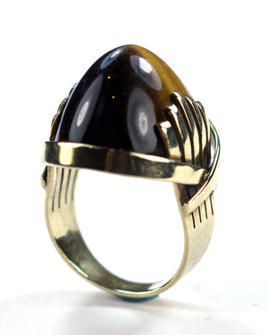 Tiger Eye Deco Style Ring