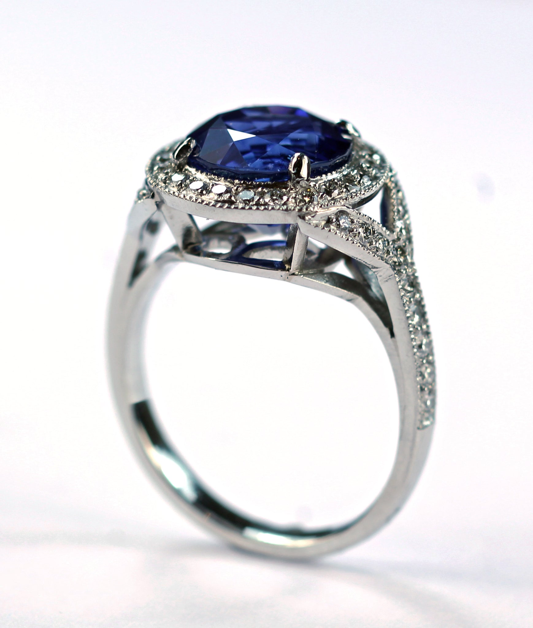 Janet Deleuse Designer Sapphire and Diamond Ring