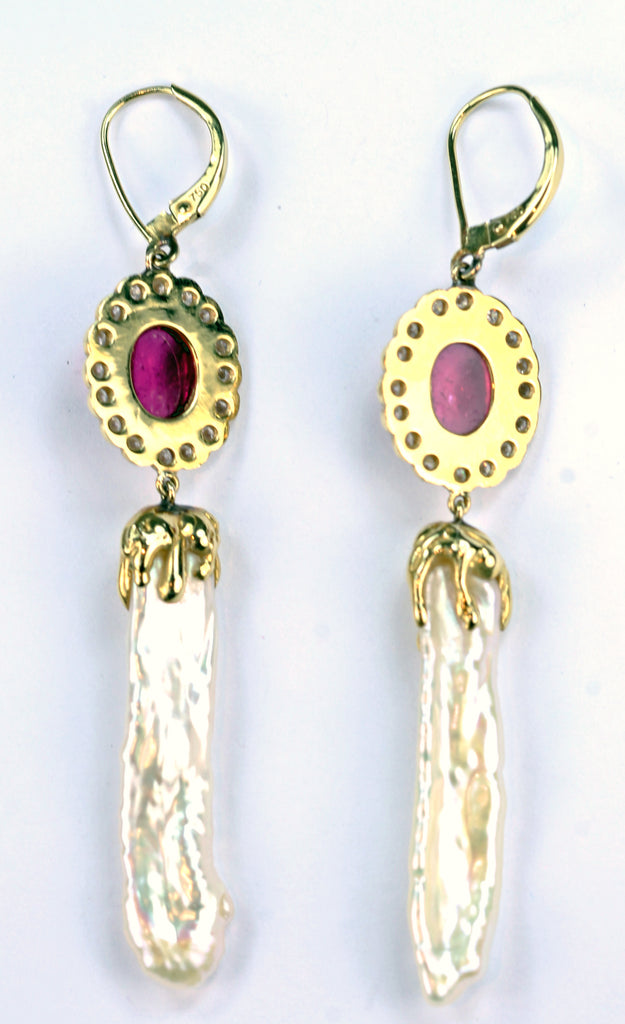 Janet Deleuse Designer Pink Tourmaline Biwa Pearl Earrings, SALE