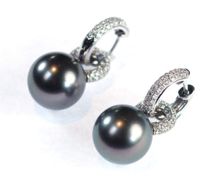 Vintage Diamond Hoops with Removable Tahitian Pearls