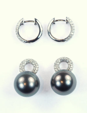 Vintage Diamond Hoops with Removable Tahitian Pearls, SOLD