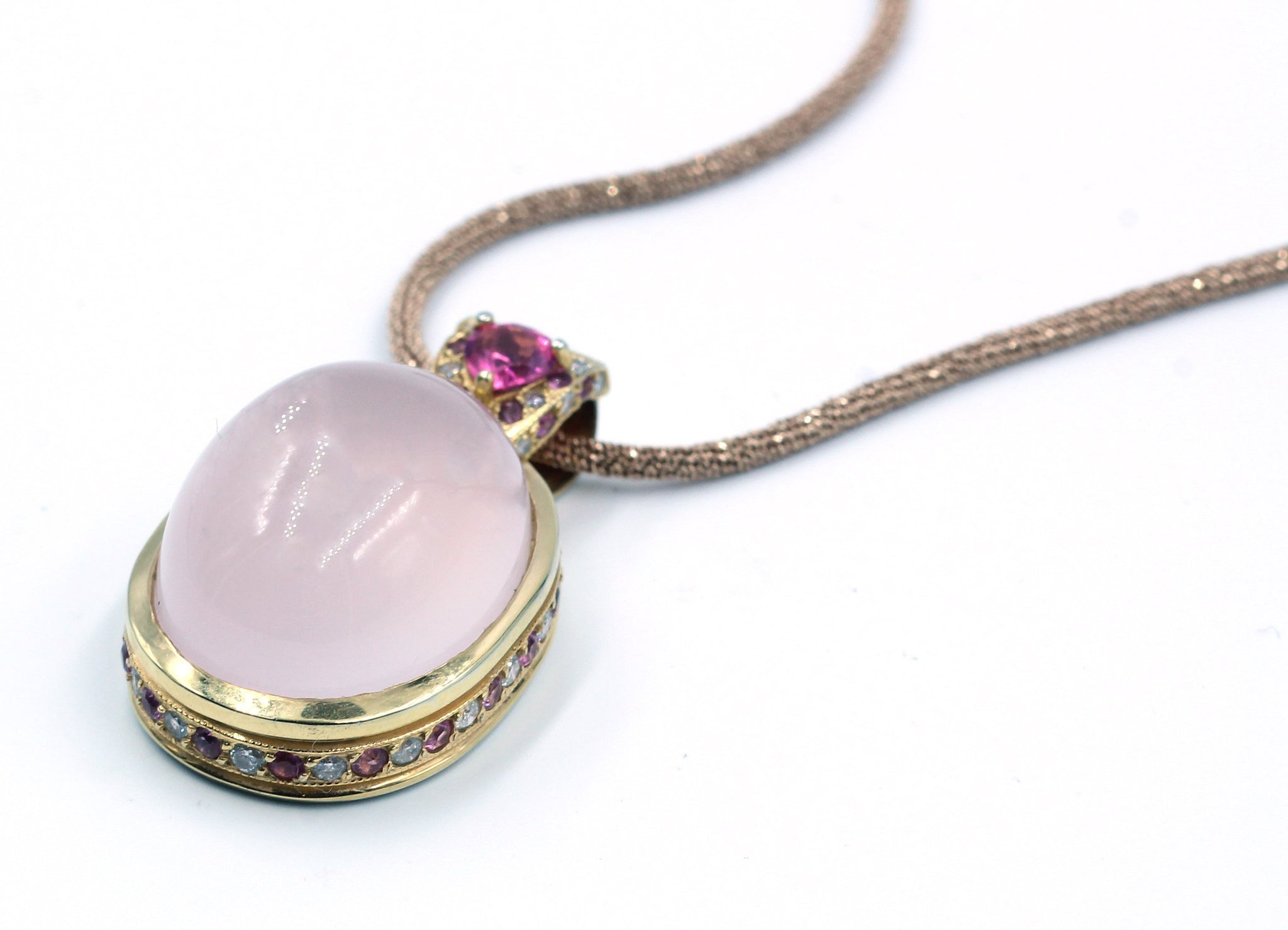 Vintage Rose Quartz, Tourmaline and Diamond Necklace, SOLD