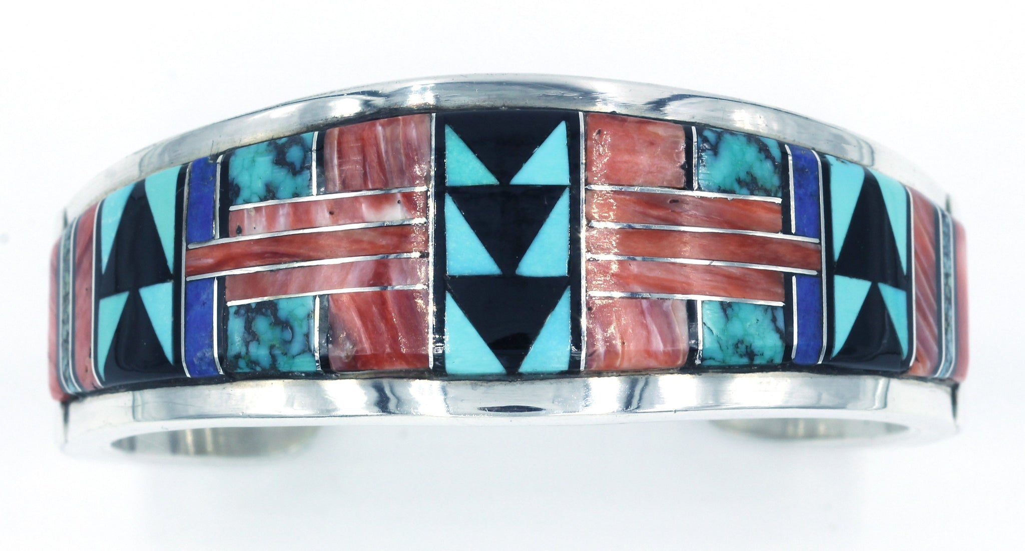 Vintage Native American Zuni Sterling Silver Inlaid Bracelet, SOLD